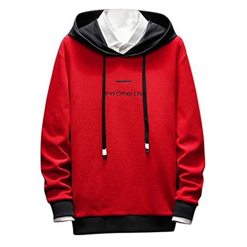 Unisex Men Hooded Sweatshirt Long Sleeve Hip Hop Splice Pullover Outwear Sports Shirts (3XL, Red)