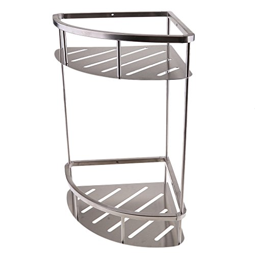 Homyl Non Rust Stainless Steel Bath Corner Caddy Shower Storage Shelf Basket Bathroom Wall Rack Shelf Home Kitchen Garden Organiser - #4 Brush Silver, 2 Tier from Homyl