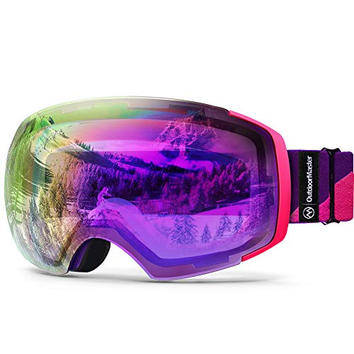 OutdoorMaster PRO Ski Goggles - Frameless, Interchangeable Lens 100% UV400 Protection Snow Goggles for Men & Women (Pink-Purple Frame VLT 45% Fuchsia Lens and Free Protective Case)