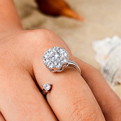 Florance Jones 1PC Women Girl Silver Plated Crystal Rhinestone Open Finger Ring Jewelry New | Model RNG - 774 | ()
