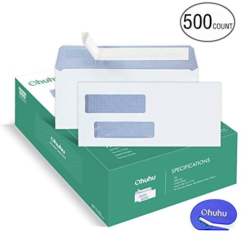 Case of 2 Boxes, 500 Pack Per Box, Ohuhu 500 Pack # 8 Double Window Envelope SELF Seal Adhesive Tinted Security Envelopes Quickbooks Check, Business Check, Documents Secure Mailing, 3 5/8