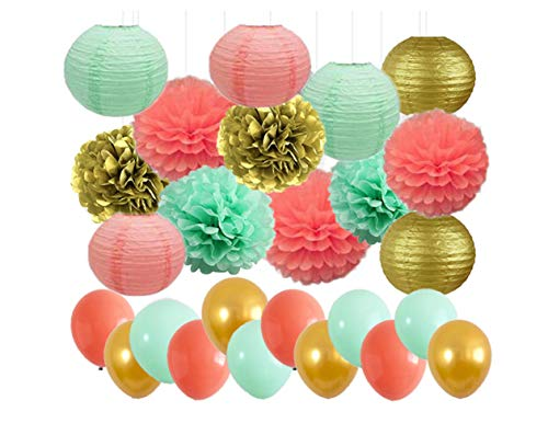 43pcs Mixed Mint Green, Gold, Coral. Tissue Paper Flowers Ball Pom Poms Paper Lanterns and Balloons for Wedding Bridal Shower Graduation Bachelorette Celebrate First Birthday Graduate Supplies -