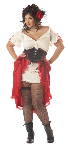 California Costumes Women's Cantina Gal Costume, Ivory/Red/Black, 1XL (16-18)