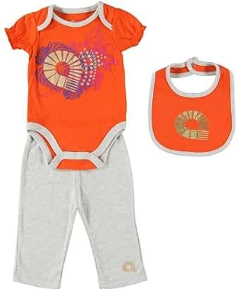 Akademiks Baby-Girls Tangerine 3pc Bodysuit Pant Set (6/9M)