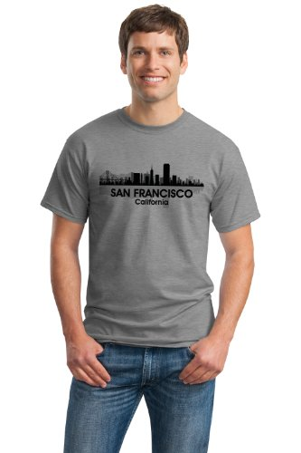 JTshirt.com-20025-SAN FRANCISCO CITY SKYLINE Unisex T-shirt / Golden Gate, Bay Area Alcatraz-B009AKUMJ0-T Shirt Design