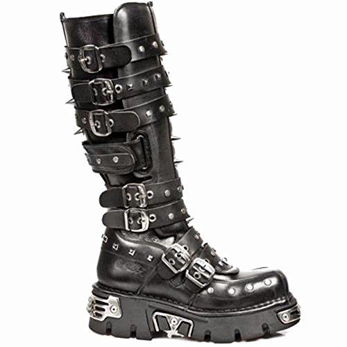 NewRock M.796-S1 Men'smettalicleatherboots Black, Black
