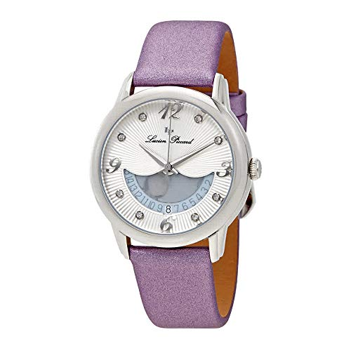 Lucien Piccard Women's Bellaluna Stainless Steel Swiss-Quartz Watch with Leather Calfskin Strap, Purple, 18 (Model: LP-40034-02-PPSS
