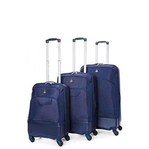 "Aerolite Lightweight Hard Shell / Soft Shell Hybrid ABS/Polyester 4 Wheel Spinner Travel Suitcase 3 Piece Luggage Set (20"" + 24"" + 28"", Navy)"