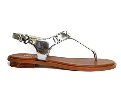 MICHAEL Michael Kors Women's Metallic Leather MK Plate Thong Sandal (6.5, Silver)