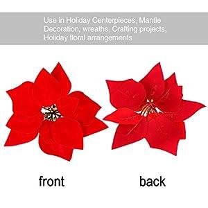 HMILYDYK 20PCS Xmas Tree Ornaments 8 INCH Red Poinsettia Flowers Festival Decor Artificial Flowers 4