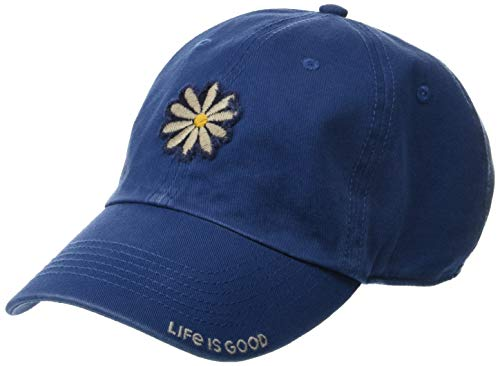 Life is good Unisex Tattered Chill Daisy Applique Vtgblu, Vintage Blue, One Size