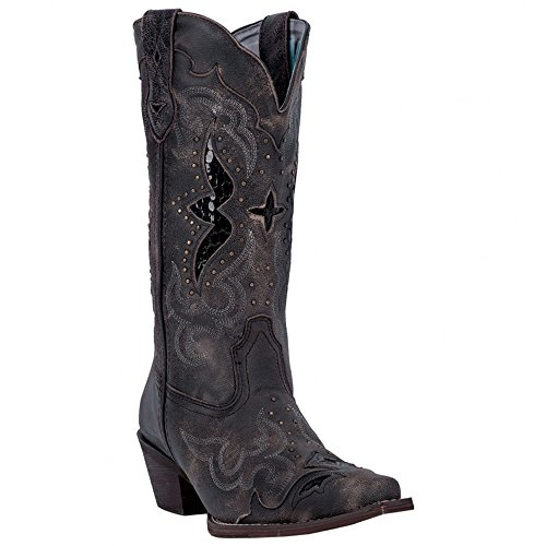 Leather Snip Toe Western Boots (Laredo Womens Black/Tan All Leather Lucretia 13in Snip Toe Cowboy Boots 6 W)