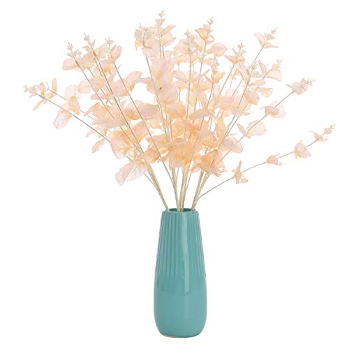 Lucky Bird Artificial Eucalyptus Flower 2pcs Silk Leaf Round Floral Stem Faux Greenery Silver Dollar Eucalyptus Bushes Plants for Wedding Bouquet Party Home Craft Decor (New-Baby Pink) ()