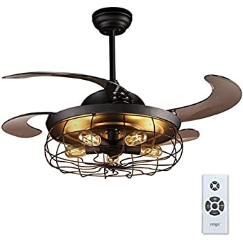 Amazon Com Reiga 44 Inch Black Retractable Blade Caged Ceiling Fan With Light Kit And Remote
