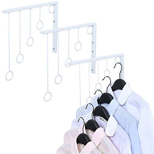 MyGift Set of 3 Wall Mounted 5 Ring Clothing Garment Racks, Organizers, White