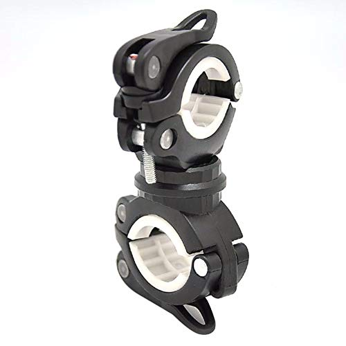 (360 Degree Rotation Bike LED Flashlight Mount Holder Double Holder Front Flashlight Pump Handlebar Holder Bicycle Accessory)