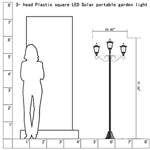 Kanstar 57019b Street Vintage Outdoor Garden Triple Solar Lamp Post Light, Adjustable