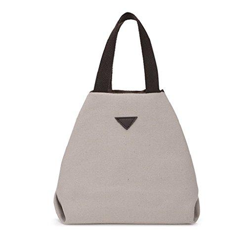 Tongshi Bolso simple grande retro del bolso de Crossbody del hombro de la vendimia del mensajero de las mujeres beige