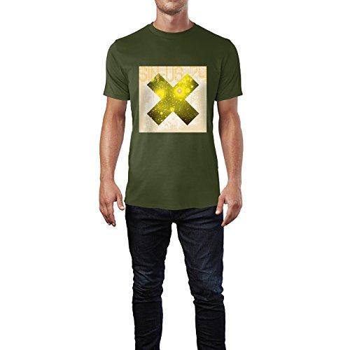 2b92f423bacf40 SINUS ART® Grunge Space Kreuz Herren TShirts in Armee Grün Fun Shirt mit  tollen Aufdruck