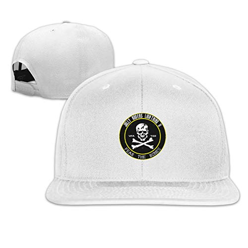 Snapback Flatbrim Baseball Cap Cotton Adjustable Hip Hop Hat Unisex Outdoor Sport Strap Printed with VFA 103 Jolly Rogers White ()
