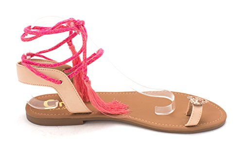 Open Circus Womens Fabric Sam by Naked 5 Sandals Slide Casual Edelman Natural Toe Binx aqaw10