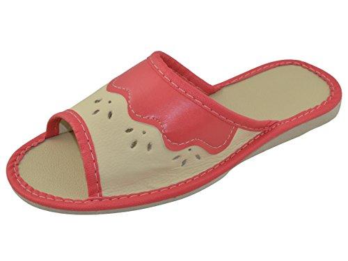 Piel auténtica elegante señoras de las mujeres zapatillas, chanclas TP-W-8