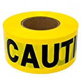 """Premium Yellow Caution Tape - STRONGEST & THICKEST - 3"""" x 1000 Feet Mega Roll - Tear & Weather Resistant Barricade Roll"""