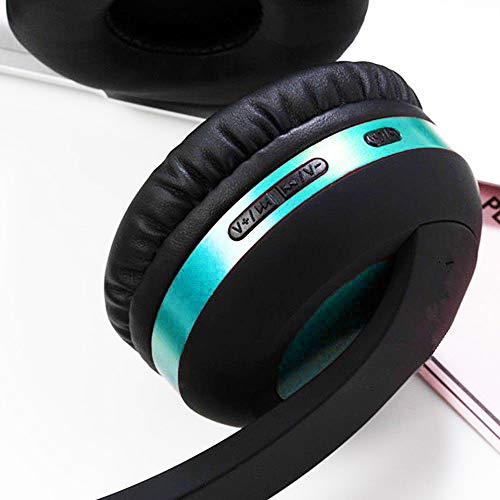 Wireless Headset with Mic,Foldable Bluetooth Headphone with 3.5mm Audio Jack for PC/iPhone/Android Smartphones Computers(Black+Blue) by YSSHUI (Image #2)