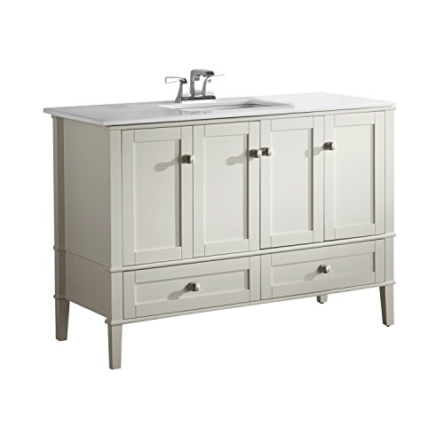 Simpli Home NL-HHV029-48-2A Chelsea 48 inch Contemporary Bath Vanity in Soft White with White Engineered Quartz Marble Top