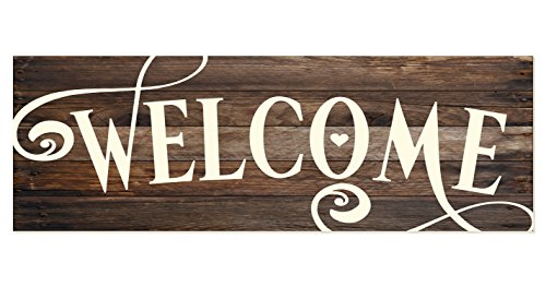 Welcome Rustic Wood Wall Sign 6x18 (Brown)