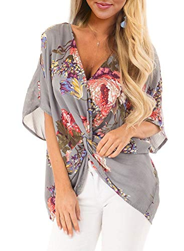 Top Summer Blouse - ZKESS Womens Plus Size Floral Print Boho Ladies Short Sleeve V Neck Twist Front Chiffon Shirts Summer Fashion Blouse and Tops Loose Spring Shirts for Work Grey XX-Large Size