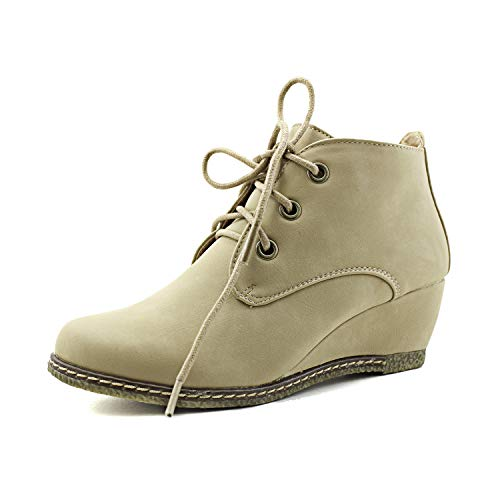 Nature Breeze Women's Lace Up Faux Leather Ankle Wedge Booties NEW BEIGE PU (10)