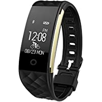 Fitness Tracker, Toprime Waterproof Bluetooth 4.0 OLED Touch Screen Activity Tracker Smart Wristband S2,Heart Rate and Sleep Monitor for Android and IOS, Black