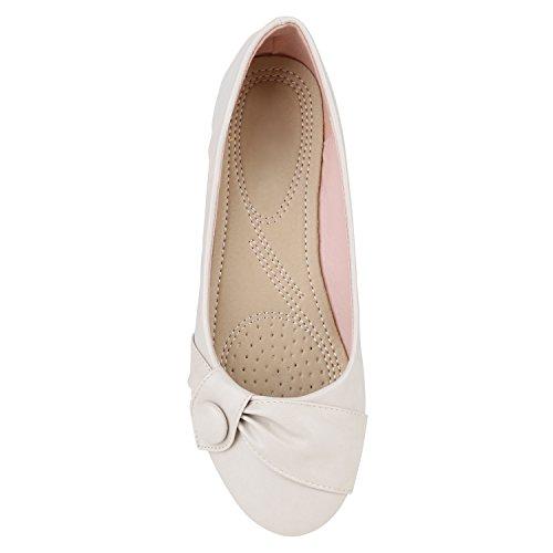 Stiefelparadies Damen Klassische Ballerinas Metallic Slipper Glitzer Slip On Schuhe Strass Flats Übergrößen Abendschuhe Abiball Flandell Creme Knopf