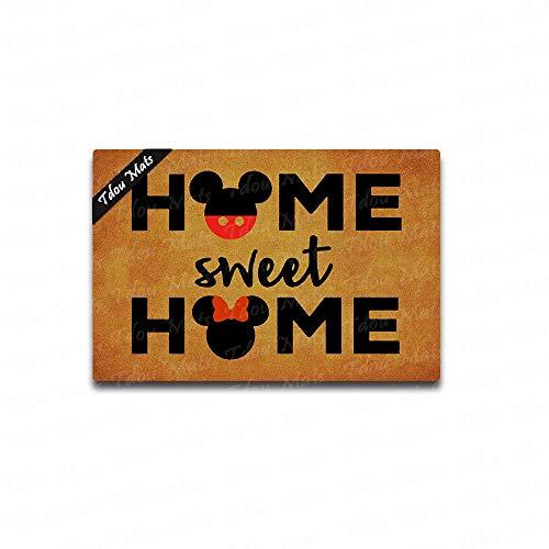 - Tdou Home Sweet Home Cute Doormat Entrance Floor Mat Funny Doormat Door Mat Decorative Indoor Outdoor Doormat 23.6 by 15.7 Inch Machine Washable Fabric Top