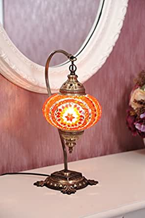 (18 Variations)NEWEST CopperBull 2018 Turkish Moroccan Tiffany Style Handmade Mosaic Table Desk Bedside Night Swan Neck Lamp Light Lampshade, 42cm (14)