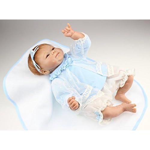 Nicery Renacido de la Reborn muñeca de silicona suave 18inch 45cm magnetica precioso realista juguete lindo muchacha del muchacho de la sonrisa vestido azul Reborn Baby Reborn Doll