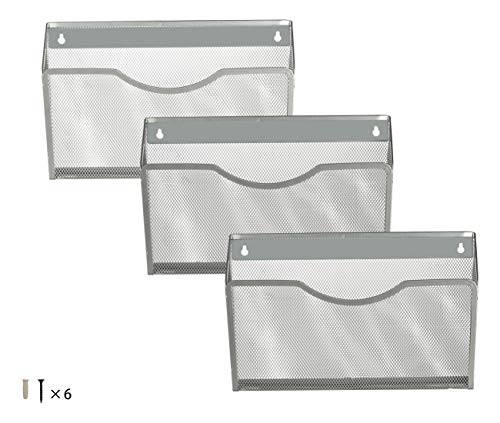 Denozer Wall Mount Single Pocket Hanging File Holder Organizer,3 Pack,Silver