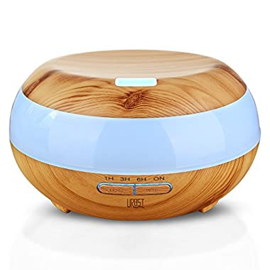 URBST 300ml Aromatherapy Essential Oil Diffuser,7color LED lights change,waterless automatic shut-off function and timing Settings,the mini Humidifier suitable for the office and bedroom-wood grain