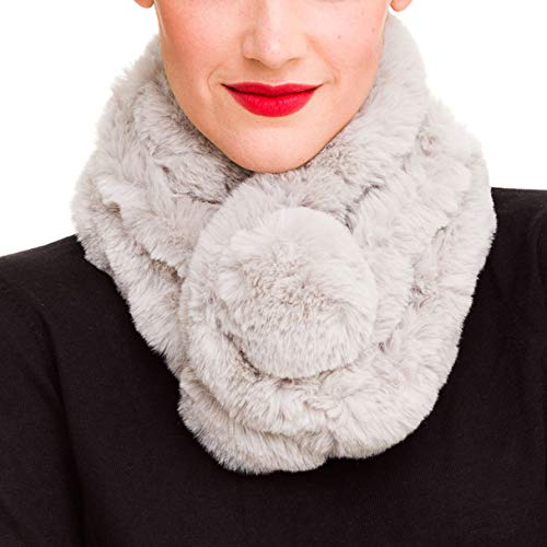 Fur Collar Scarf for Women Faux Fur Scarves Neck Shrug for Winter Coat Dress (Light Gray) ()