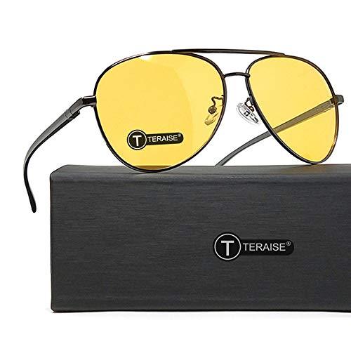 TERAISE Night Vision Glasses Safety Driving Polarized Retro Sunglasses Anti-Glare HD Yellow Lens for Men & Women