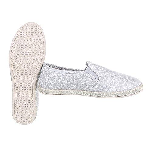 Ital-Design Slipper Damenschuhe Low-Top Moderne Halbschuhe Hellgrau