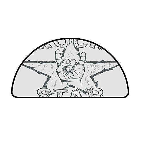 Popstar Party Comfortable Semicircle Mat,Rock Star Theme High Sign and Star Figure Grungy Sketch Gesture Vintage Decorative for Living Room,35.4