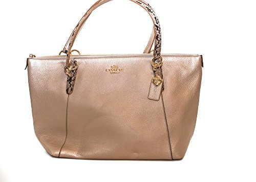 AVA TOTE IN METALLIC LEATHER WITH EXOTIC TRIM (COACH ()