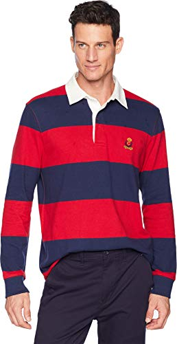 Chaps Men's Cotton Rugby Polo Park Avenue Red Multi X-Large