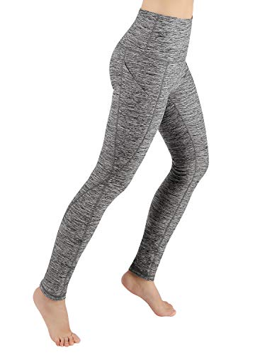 ODODOS High Waist Out Pocket Yoga Pants Tummy Control Workout Running 4 Way Stretch Yoga Leggings,GrayHeather,X-Large
