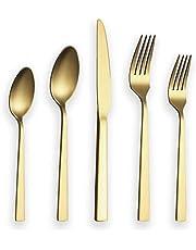 Berglander Flatware Set 20 Pieces with Golden Titanium Plated, Stainless Steel Golden Silverware Set, Gold Cutlery Set, Service for 4 (Matte Golden)