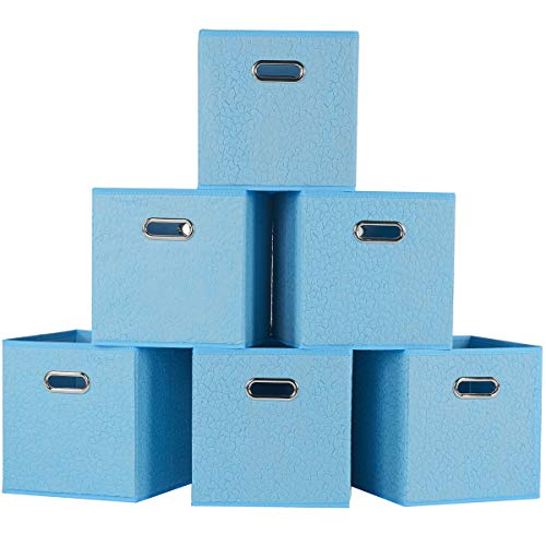 Foldable Cube Storage Bins - 6 Pack - Decorative Fabric Storage Cubes Organizer for Shelf, Closet or Underbed. Convenient for Clothes or Kids Toy Storage Unit (Embossed with Stone Print) ()