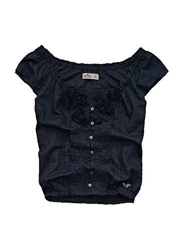 Hollister Womens Navy Blue Short Sleeve Semi-Sheer Floral Lace Blouse Top, Large