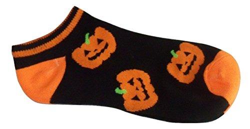 Halloween Ankle Sock ~ Size 4-6, Shoe Size 7-10 (Happy Jack-o-Lanterns on Black)]()